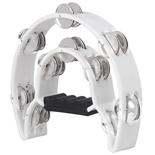 Healifty Hand Tambourin Halbmond Form Doppelter Schellenring Schellentrommel Schellenkranz Musikinstrumente (weiß)