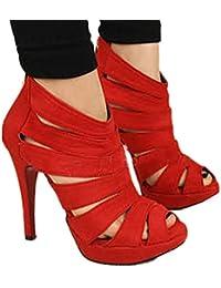 FINEJO Women High Heel Strap Sandal Ankle Open Toe Platform Pump Shoes 2 Colors
