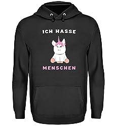 """Hochwertiger Unisex Einhorn Kapuzenpullover Hoodie - mit lustigem Spruch """"Ich Hasse Menschen"""" Einhorn Pullover für Männer und Frauen, Einhorn Hoodie, Einhorn Kleidung, alle Größen"""