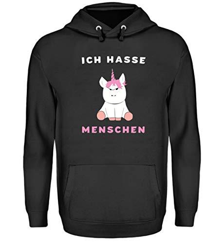 """Hochwertiger Unisex Einhorn Kapuzenpullover Hoodie – mit Lustigem Spruch """"Ich Hasse Menschen"""" Einhorn Pullover für Männer und Frauen, Einhorn Hoodie, Einhorn Kleidung, alle Größen"""