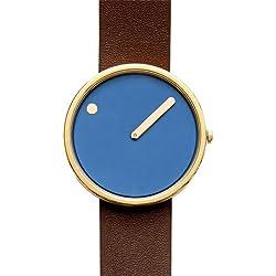 Rosendahl Picto Blue Dial Dark Brown Leather Strap Unisex Watch 43376