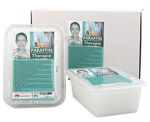 Kosmetex Therapie-Paraffinbad für Gelenk Paraffin-Bäder, Parfümfrei, Paraffin mit niedrigeren Schmelzpunkt, 2x 500ml