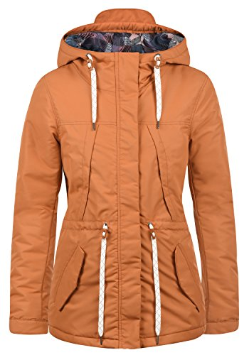 DESIRES Frida Damen Übergangsmantel Parka Lange Jacke Mit Kapuze, Größe:XL, Farbe:Adobe Orange (5059)