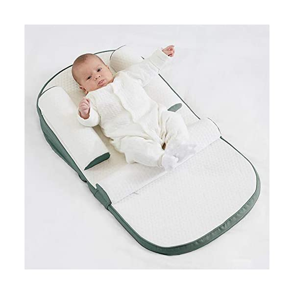 TINGYIN Baby Lounger Infant Sleeper, Newborn Lounger, Nap Sleeper Seat Baby Bassinet,Safer Comfortable Co-Sleeping with Removable Breathable Cover,for Bed Travel Bed TINGYIN ★Adjustable Design: Suitable for 0-15Month. Comes with bag, Great baby shower gift. GROWS WITH YOUR BABY. Being adjustable, the side sleeper grows with your baby. Simply loosen the cord at the end of the bumpers to make the size larger. The ends of the bumpers can be fully opened. ★HEALTH & COMFY: hypoallergenic materials, breathable and non-toxic. We use 100-percent cotton fabric and breathable, hypoallergenic internal filler, which is safe for baby's sensitive skin. It will give your child serene, safe, and sound sleep in their lovely co sleeping crib. ★MULTIFUNCTIONAL AND PORTABLE. Use the infant nest as a bassinet for a bed, baby lounger pillow, travel bed, newborn pillow, changing station or move it around the house for lounging or tummy time, making baby feel more secure and cozy. The lightweight design and easy-to-use package with handle make our newborn nest a portable baby must-have. 1