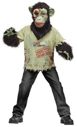 Schimpansen-Zombie Kinderkostüm - M / 128-140cm (Zombie Schimpansen Kind Kostüm)