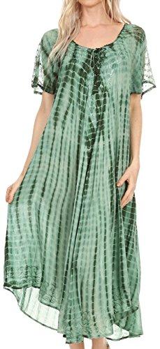 Sakkas 17601 - Yasmin Abbindebatik gestickte Sheer mit Flügelärmeln Sundress | Cover Up - Grün - OS -