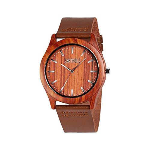 ZARTHOLZ Herren Holz-Armbanduhr Meister aus Rotem Sandelholz Holzuhr Silber Analog Quarz Lederarmband 45mm ZH005