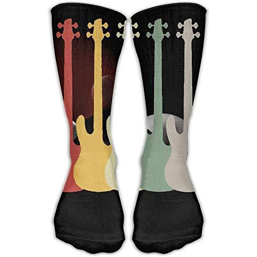 Electric Guitar Retro Vintage Bass 3D Printing Anti-odor Running Long Sock Athletic Socks Bass Loafers Men