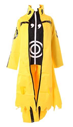Gelbe Kostüm Jacke - Kawaii-Story MN-93 Naruto Kyuubi Gelb Mantel Jacke Hose Set Cosplay Kostüm Anzug Anime Manga (M)