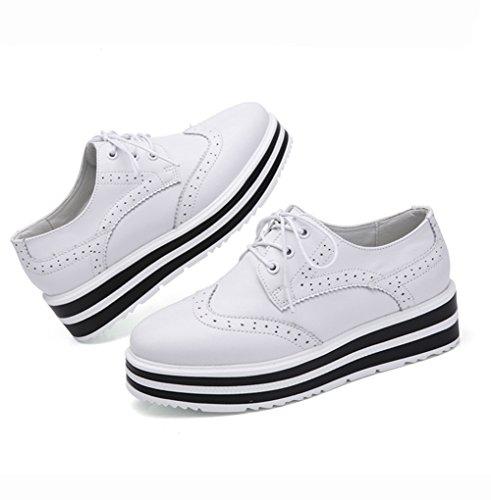 Damen Schnürhalbschuhe Atmungsaktiv Weich Leder Anti-Rutsche Klassische Brogue Schuhe Weiß