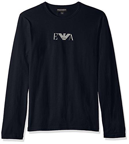 Emporio Armani Uomo Maniche lunghe Logo T-shirt, Blu, Medium