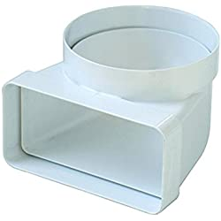 La Ventilazione CGV126B - Curva di collegamento D/100 a 120x60 mm per Aerazione Canalizzata Cappa Cucina da Tubo Tondo a Rettangolare e Viceversa, In Pvc Colore Bianco