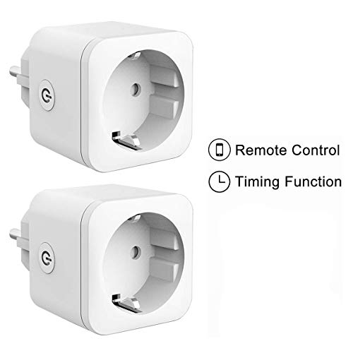 Presa Intelligente - Rarazu WiFi Smart Plug Compatibile Con Google Home/Amazon Alexa, Controllo Remoto funzione di temporizzazione Presa Wireless, Nessun Hub richiesto per IOS, Android (2PACK)