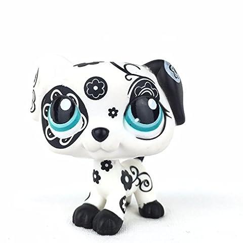Rare Littlest Pet Shop White Tattoo Dalmatian Puppy Dog Blue eye LPS #1613