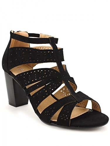 Cendriyon, Sandale noir simili peau cuir CREATION Chaussures Femme Noir
