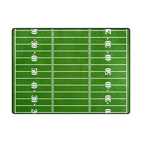 LUPINZ Area Rug American Football Court Stadion Teppich Anti-Rutsch-Fußmatte Fußmatten für Terrasse oder Familienzimmer, Polyester, 1, 80 x 58 inch -