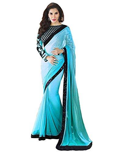 Kjp Villa Women\'s Georgette blue Free Size embroidery Saree With Blouse Pics (zeel saree-125)