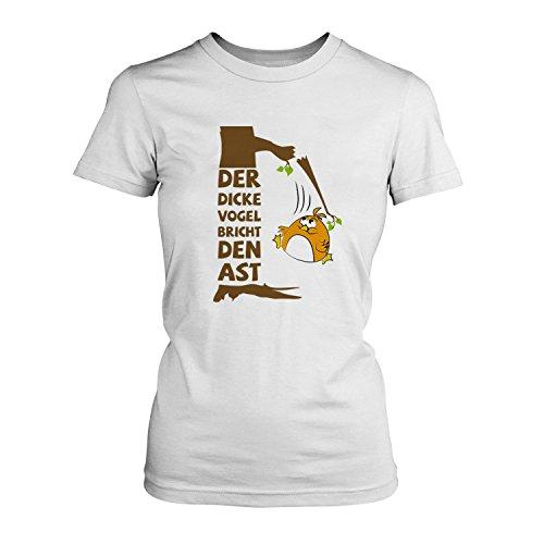 Der dicke Vogel bricht den Ast - Damen T-Shirt von Fashionalarm | Fun Shirt Spruch Spaß Der frühe Vogel Übergewicht Sport Training Workout Gym Fitness Diät Abnehmen Weiß