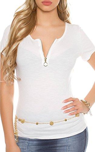 Tailliertes Ripp-Shirt mit Rücken-Schnürung Weiß