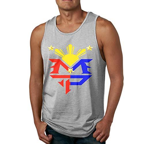 Abigails Home Manny Pacquiao Philippinische Flagge Sonnensymbol Männer Tanktop Ärmellose Shirts T-Shirt Basketball Sport T-Shirt T-Shirts Outdoor Fitness(XL,Grau) -