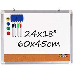 Tableau Blanc Magnetique/Tableau D'Affichage en Liège - 60x45 cm Combinaison Tableau Effacable avec 1 Effaceur Magnétique, 4 Feutres Effaçables à Sec, 4 Aimants et 10 Épingles
