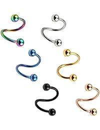 6 Pcs 16 Gauge en Acier Inoxydable S Forme Spirale Twist Oreille Hélix Tragus Cartilage Anneaux Piercing Bijoux Ensemble