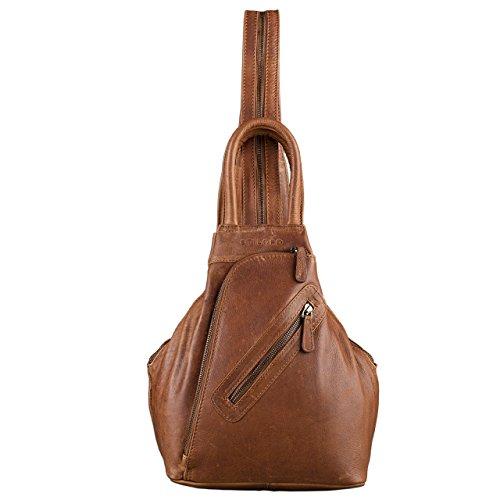 STILORD Damen Rucksack Vintage mit Henkel und Reißverschluss Handtasche elegantes und robustes Büffel Leder Cognac Braun