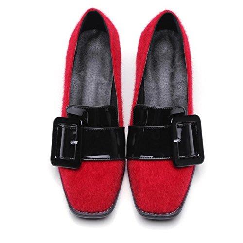 Brogue Cintura Modo Donne Di Fibbia Calza Rosso Coolcept Tallone Bassa Floccaggio Della AwXaaT0qxU
