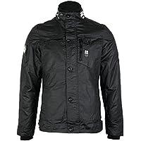 Mens Crosshatch Plixxie Coated Finish Black Full Zip Jacket
