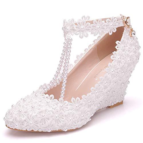 Zpfme ballerine con cinturino alla caviglia da donna perle da sera da sposa ballerine da sposa sandali con zeppa a punta,white-eu41/255