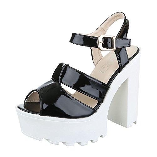 Ital-Design , chaussures compensées femme Schwarz