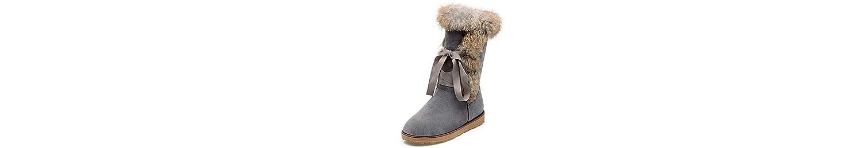 HSXZ Zapatos de Mujer Otoño Invierno flocado botas para la nieve botas de tacón bajo de forro de piel puntera... -