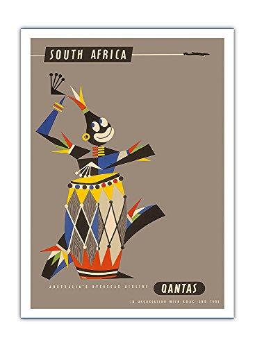 afrique-du-sud-joueur-de-tambour-natif-dafrique-qantas-empire-airways-qea-compagnie-aerienne-vintage