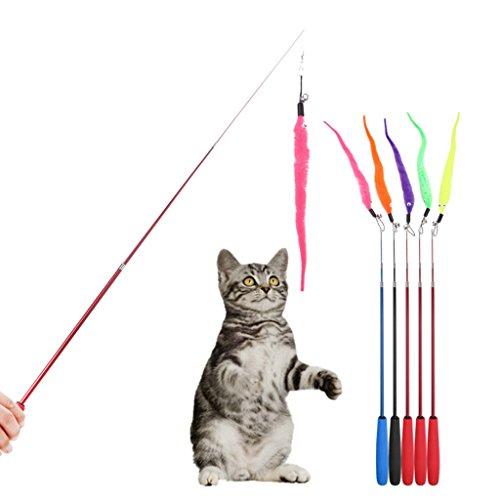 CUIGU 5x Colorful Pet Kitten Cat Spielzeug Teaser Ersatz Refill Plüsch Bell Play Stick -