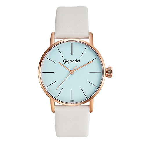 Gigandet Women's Quartz Wrist Watch Minimalism Analogue Leather Strap Rose Gold White G43-013