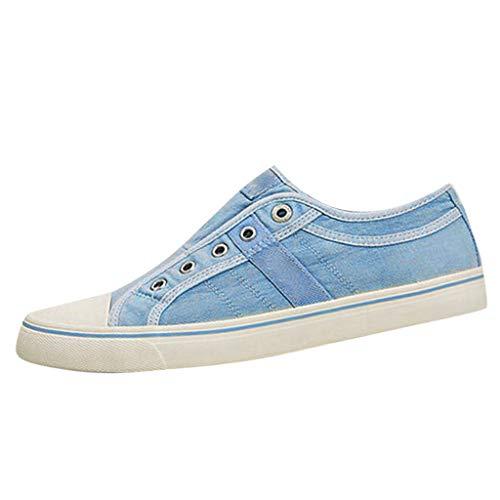 COZOCO Damen Sneakers Sommer Flachbodenschuhe Mode Einzelschuhe Casual Sport Schuhe Cover Ferse Wohnungen(blau,41 EU)
