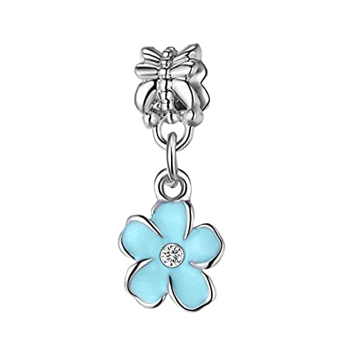 Bling Stars Lovely Blue Flower Dangle Charms Crystal Birthstone Charms Beads Fit Pandora Bracelets