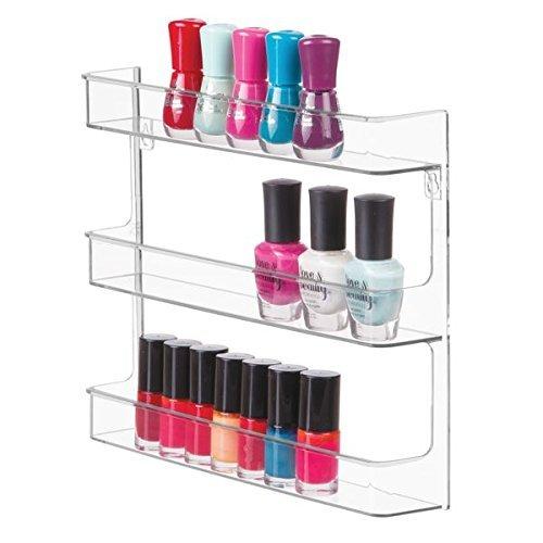 mDesign Nagellackregal für die Wandmontage - Kosmetikablage aus Kunststoff für den Schminktisch oder Schrank - perfekte Aufbewahrungslösung für Nagelpflegeprodukte - durchsichtig