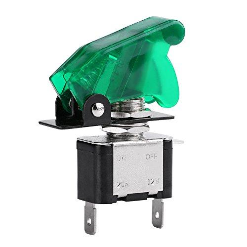 Qiilu 12V 20A Auto Auto LED Light SPST Commutateur à bascule Commutateur Activé/Désactivé(Vert LED+ Vert Couverture)