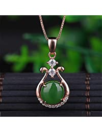 3d84577fe1ed DHCY Collar de Plata esterlina 925 para Mujer Colgante de Jade Natural de  Hetian Colgante de