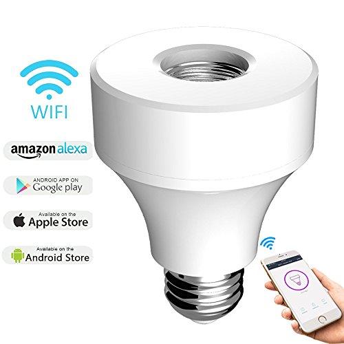 Wi-Fi Porta Lampada Intelligente Casa Domotica per E27 Timer Elettrica Programmabile Interruttore APP Remoto Controllo con Amazon Alexa Google home