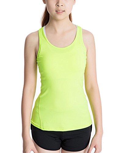 Débardeur de Compression Femme Sans Manches T-shirt Yoga Fitness Basique Top Vert Fluorescent