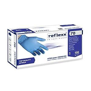 REFLEXX R70 / S Guanti senza nitrili in polvere, piccolo, blu chiaro, confezione da 100 418cly32LhL. SS300