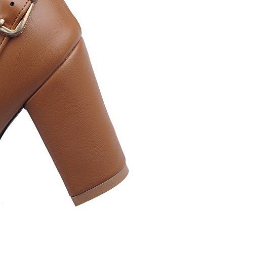 AgooLar Damen Hoch-Spitze Rein Reißverschluss Rund Zehe Hoher Absatz Stiefel mit Schnalle Gelb