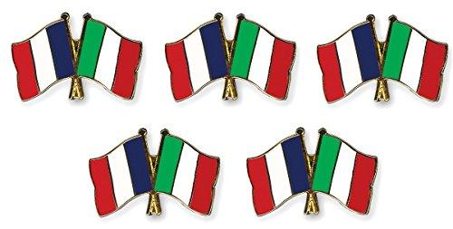 5 pièce Pack pins drapeaux amitié France / Italie