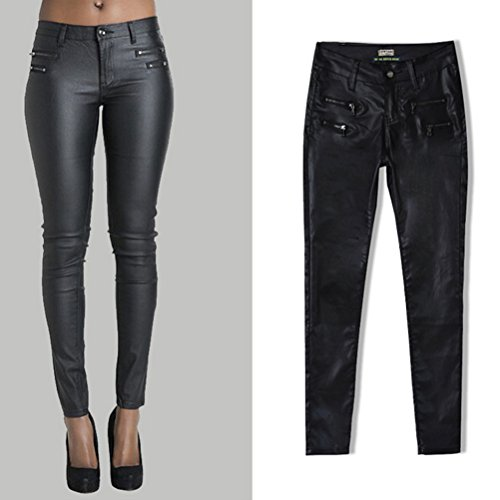 Zhhlaixing Top-Qualität Low Waist Slim Pants PU Leather Pants Double Zipper Design Fashion for Women Black