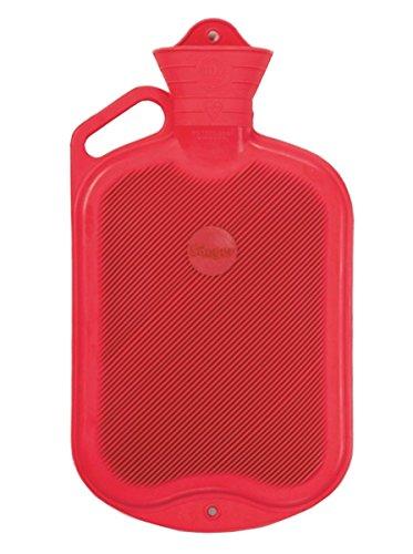 Wärmflasche Faba Care by Sänger 2 L Gummi mit Griff, Rot, Naturgummi, 1 Seite Lamellen, Premium Gummiwärmflasche -