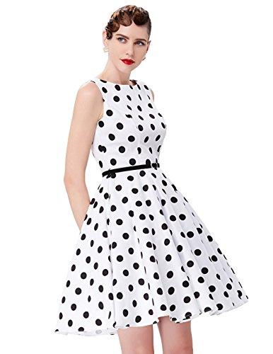 gürtel Kleid Damen Petticoat Kleid Rockabilly Vintage Kleid Cocktail Swing Kleid S CL6086-6 - Cocktail-party-kleid