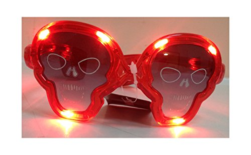 Colorful LED-beleuchteten Halloween Totenkopf Gläser (rot) Light Up Kostüm Party Decor Fancy Dress Halloween Mädchen Boy 's Kostüm Party Karneval Horror Outfit (Kostüme Frozen Boy)