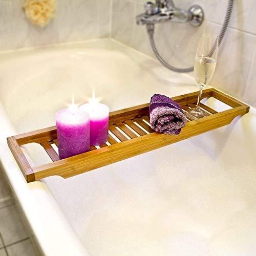 Bambus-brücke (Taylor & Braun® Bambus Slim Badewanne Caddy Brücke Badezimmer über die Wanne Aufbewahrung)